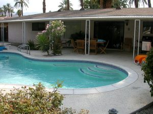 The pool and part of the back yard