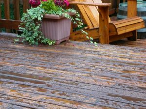 Puddles accumulating on the deck~