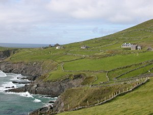 Homes and farmland on the beautiful Dingle Peninsula