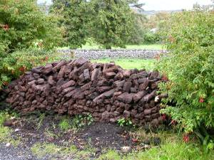 Peat.  Cut and drying, waiting to be placed on a fire.