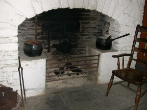 Peat fire burning at Bunratty Castle and Folk Park