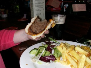 """The Irish """"burger and chips"""" meal.  No surprise, I was unable to finish this!"""