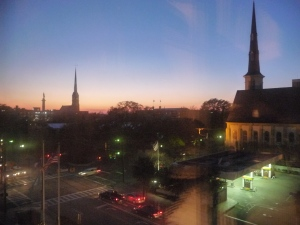 Charleston at sunset, out our hotel window.