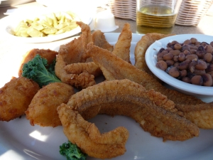 Hush puppies, fried catfish, and black-eyed peas.  Again, everything was delicious!